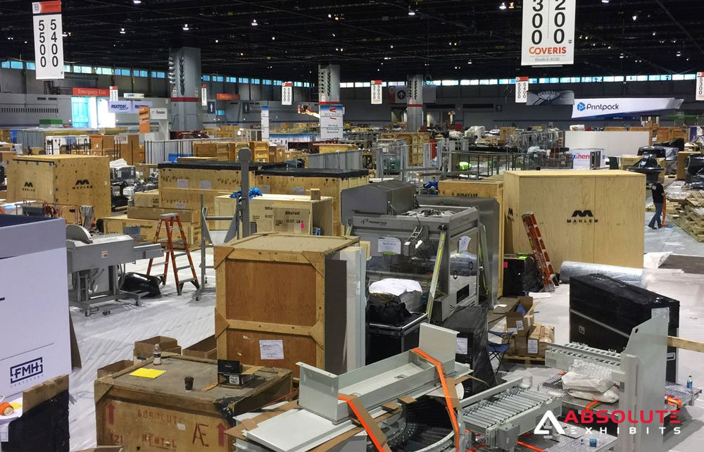 crates, trade show floor