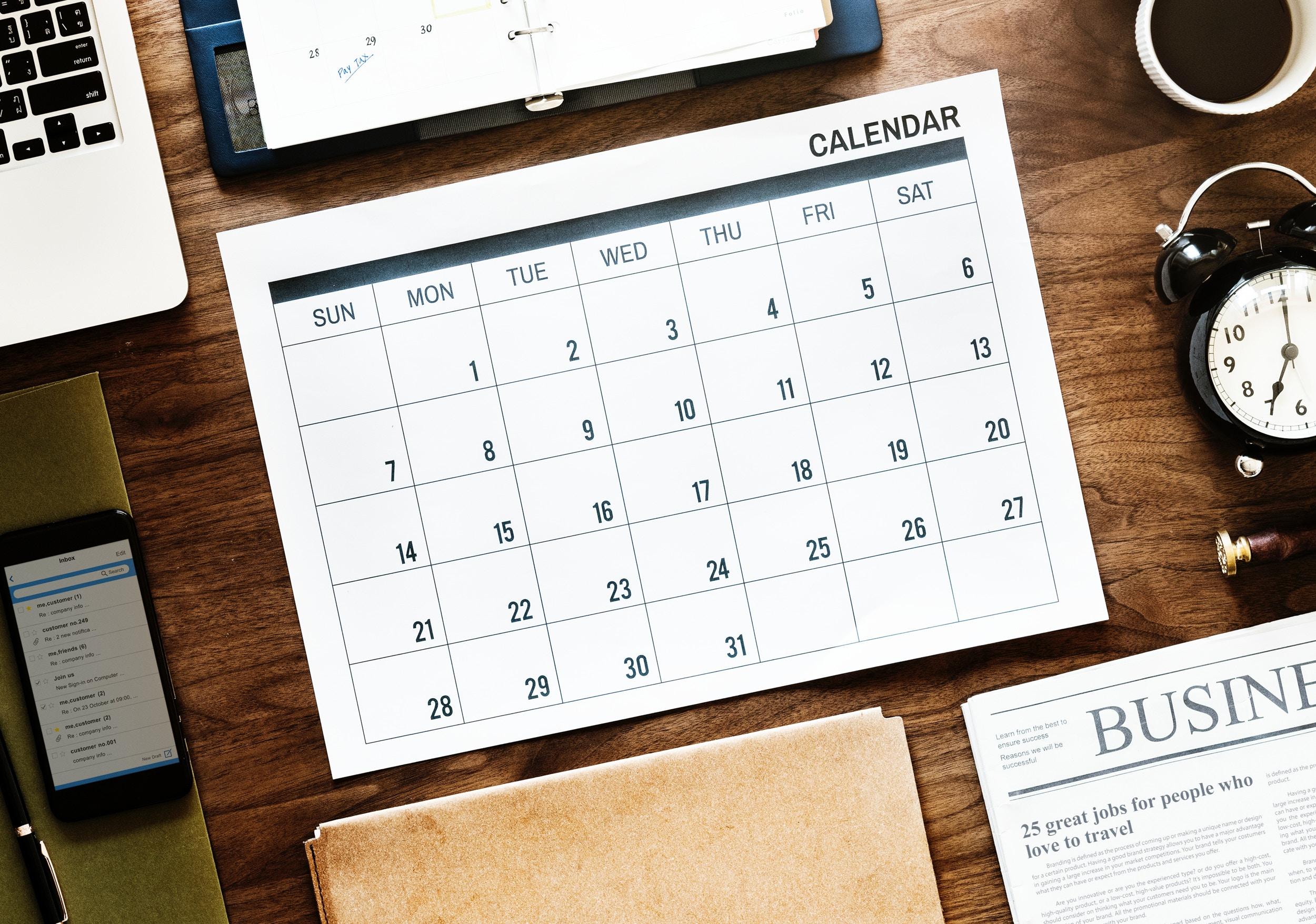 trade show budget calendar